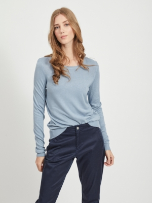 VIBOLONIA O-NECK L-S KNIT TOP- logo