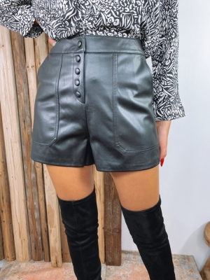ONLSANDY FAUX LEATHER SHORTS O 177911 Black
